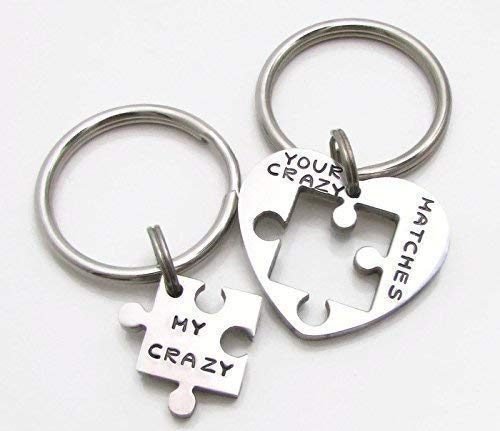 ce60f9357f8b9 Amazon.com  Personalized Anniversary Puzzle Piece Keychains Set of 2 ...