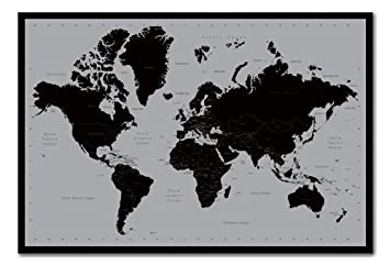World map poster contemporary black grey style cork pin memo world map poster contemporary black grey style cork pin memo board black framed 965 gumiabroncs Images