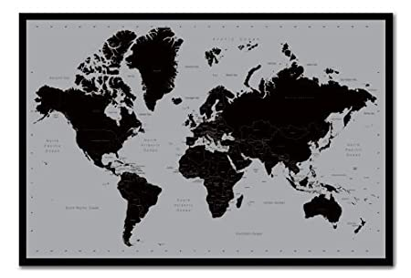 World map poster contemporary black grey style cork pin memo board world map poster contemporary black grey style cork pin memo board black framed 965 gumiabroncs Gallery