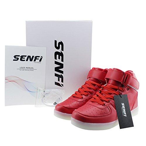 SENFI verbesserte LED-Licht Schuhe High Top Sneaker für Männer / Frauen rot