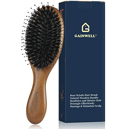 GAINWELL Wooden Boar Bristle Hair Brush with Nylon Round Pins - Small Size