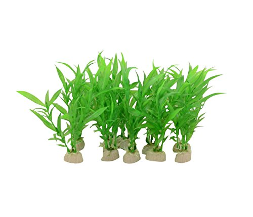 - CNZ Aquarium Decor Fish Tank Decoration Ornament Artificial Plastic Plant Green 10pcs Grass 6-inch