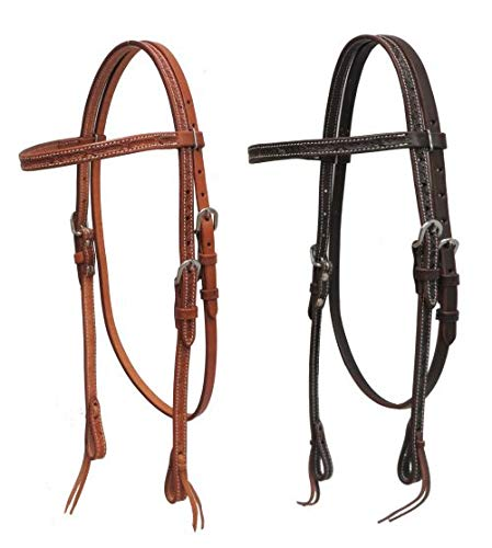 Showman Argentina Cow Leather Headstall w/Barbed Wire Tooling! New Horse TACK! (Dark Chocolate) ()