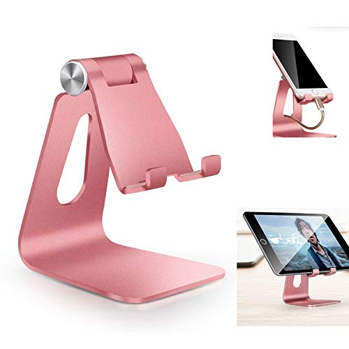 Fwaytech Rose Gold Cell Phone Stand,Rose Gold Desk Accessories for women office,Phone Stand Holder Compatible with iPhone xs max xr X Samsung Galaxy Google and other Smartphone (Rose Gold)