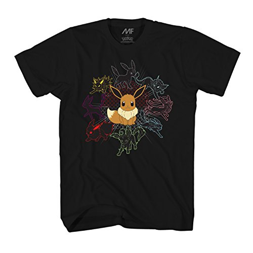 Pokémon Mono Eeveeloutions Eevee T-Shirt (Extra Large, Adult Black) (Best Pokemon Drawing Ever)