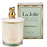LA JOLIE MUSE Scented Candle Sweet Pea & Lily - Natural Soy Wax Essential Oil Owl Candle Gift for Her, 8.5OZ