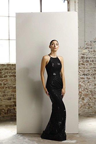 8 4 Kleid schwarze jx1015 US Stehkragen UK Sequinned wWqX70T