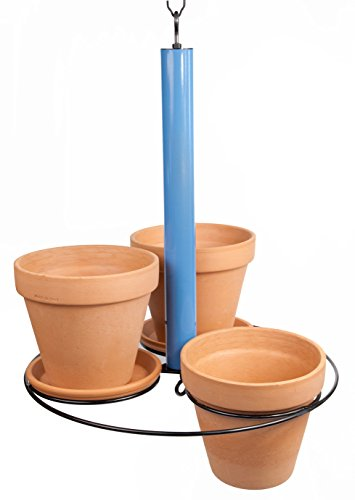 Hanging Planter ~ Holds three 8 inch pots (not included) ~ Gloss Blue and Black