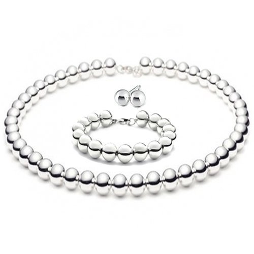 "THE ICE EMPIRE JEWELRY, LLC 8mmLARGE Italian Sterling Silver Ball Bead Necklace 16"" in with 7.5"" Bracelet,Earrings Set"