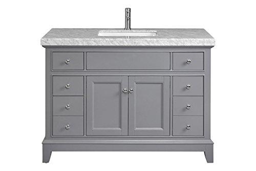 Daytona 48' Single Square Sink Bathroom Vanity with Carrara Marble Countertop (Gray)