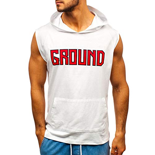 Men's Tank Hoodie Vest Pullover, Leisure Contrast Colour Block Patchwork Sleeveless Hooded T-Shirt (White,XXL)
