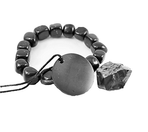 Shungite Stone Set by Karelian Heritage of Shungite Bracelet, Pendant and Elite Shungite Stone (Grams Stone Pendants)