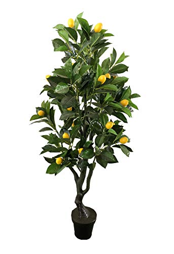 AMERIQUE 4 Feet Gorgeous & Lifelike Six-Branch Artificial Tree with Various Size Lemon Fruits, with Nursery Pot, Real Touch Tech, Green