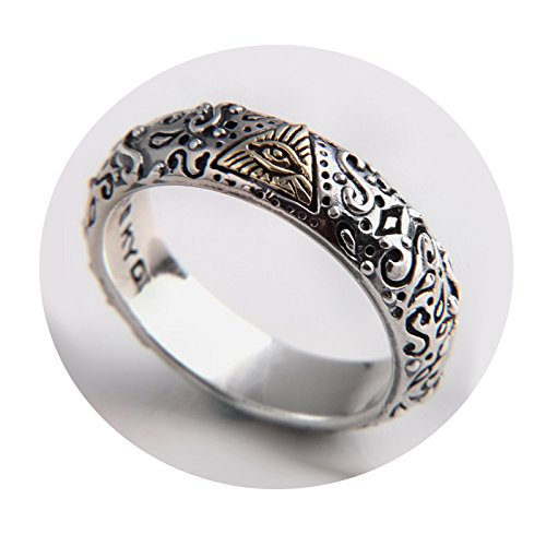 Beydodo Jewelry Silver Rings for Men and Women, Silver the Eye of God Ring Bands Size 9 Mens Ring Fashion by