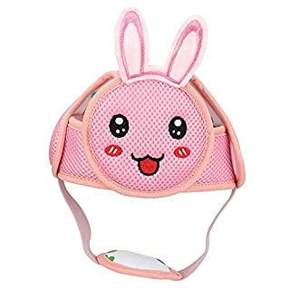 Baby Anti-Collision Hat, Baby Toddler Head Hat Lightweight Hook & Loop Safety Helmet Anti-Collision Head Protective Safety Helmet for Walking(Pink Rabbit)