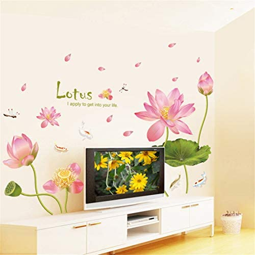 Pink Lotus Flower Fish Room Home Decor Removable Wall Sticker Decal Decoration