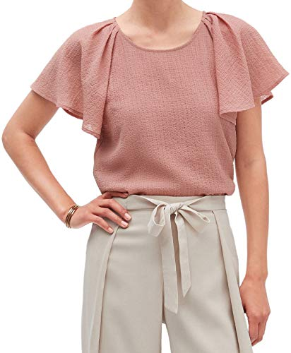 Banana Republic Womens Semi Fitted Pleated Shoulder Raglan Flutter Sleeve Chiffon Blouse Top Pink (Large)