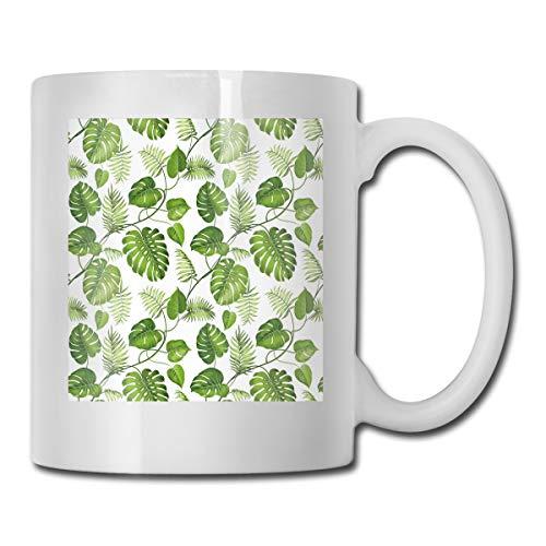 (Funny Ceramic Novelty Coffee Mug 11oz,Brazilian Rainforest Foliage Nature Ivy Swirls Palm Banana Trees Leaves Art Print,Unisex Who Tea Mugs Coffee Cups,Suitable for Office and Home)