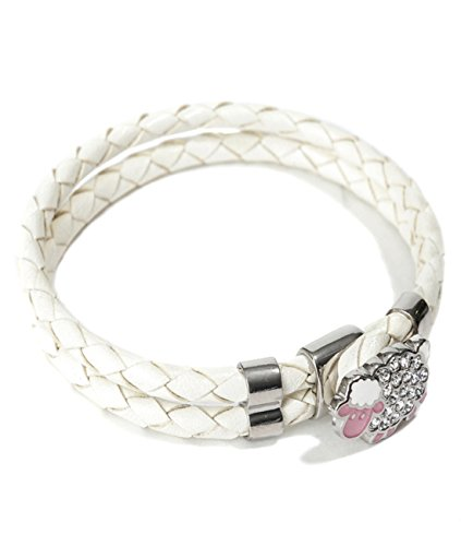 Mon Art Women's Braided Bracelet with Embellished Sheep Toggle XS Ivory by Mon Art