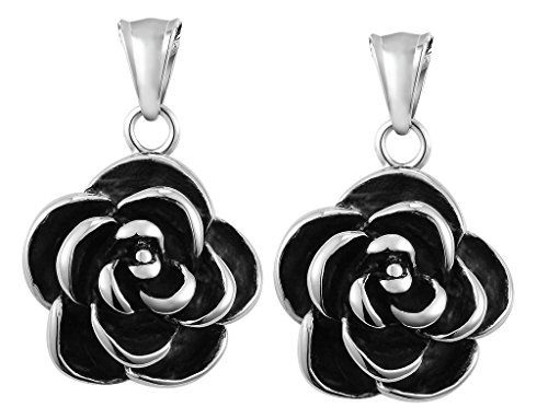 Daesar 2PCS Hers & Hers Matching Set Necklace Stainless Steel Roses in...