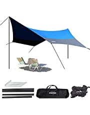 OVERMONT Zonnezeil, 5 m x 5 m, waterdicht tentzeil, zonwering, zonnescherm, buitentent met tentharingen, touwen en stangen voor camping, outdoor, wandelen, bergbeklimmen, picknick, blauw/groen