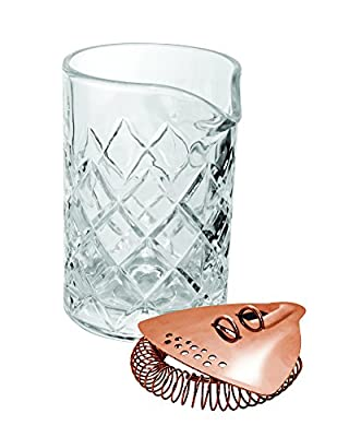 Uber bar tools Mixing Glass and Strainer Gift Set, Copper