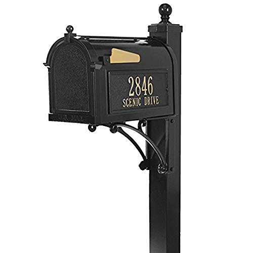 Whitehall Products Personalized Deluxe Capitol Mailbox Package (Choose Your Color!) with Large Box and Post, Weather Resistant Rust-Free Aluminum