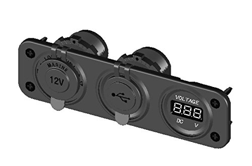 Pactrade Marine PJH-RS-0377_A Car Digital Voltmeter Dual USB 2 Port Power Socket Three Hole Panel, Black by Pactrade Marine