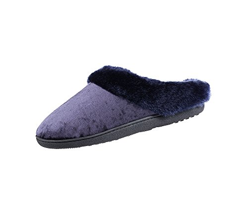 5 Hoodback Tasha ISOTONER Crushed Women's 7 Signature 6 Slippers Navy Velour ORnXzHq