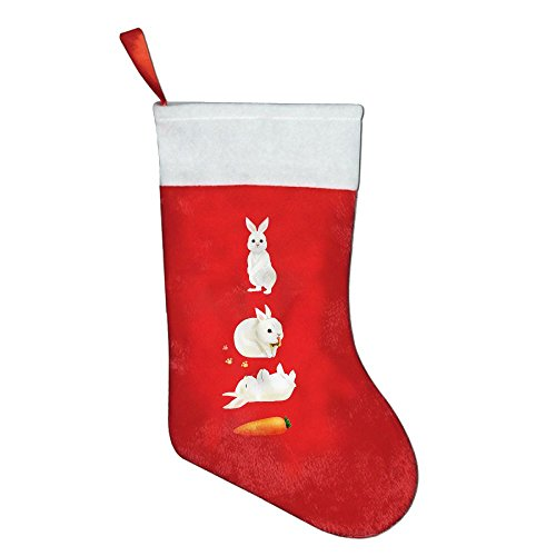 Cute White Bunny Rabbit With Carrot Red Felt Christmas Holiday Stockings Santa's Toys Stockings