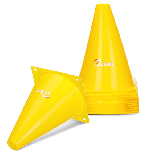 JBM 7-inch Yellow Training Cones Sports Cones Traffic Cones Sports Training Cones Soccer Cones Soccer Training Equipment for Soccer Training Drills Speed Agility Drills Cone Drills - Pack of 12 ()