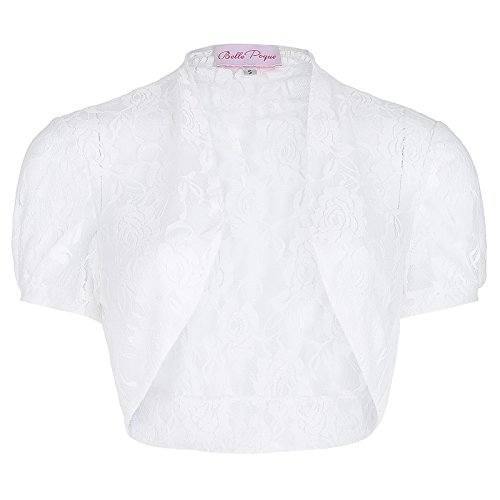 Vintage Classic Cardigan (Women's Floral Lace Shrug Short Sleeve Cardigan (L, White 217-2))