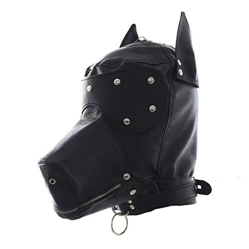 PU Leather Dog Hood Head Masks Blindfold Role Play Headgear Leather Costume Lacing Mask Halloween Hood -