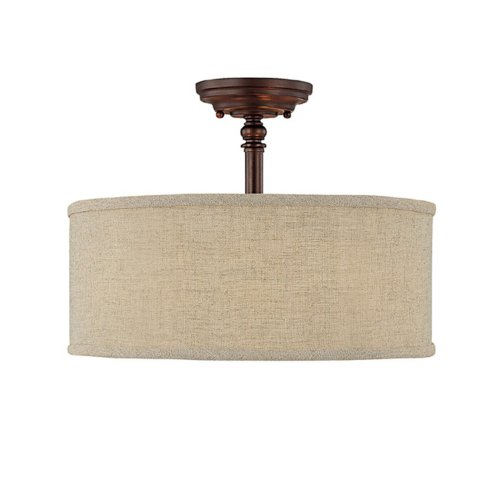 Capital Lighting 3923BB-479 Semi-Flush Mount with Beige Fabric Shades, Burnished Bronze Finish