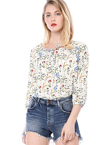 Rond Mode Dsinvolte Motif Femme Col Chemise Shirt Manches Blouse Printemps Tops Dame Jeune Blanc Automne Fleur Haut Longues Elgante Chic xtdw7vqcwY