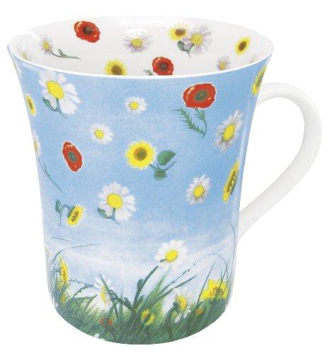 Konitz 12-Ounce Flower Eddy Mugs, Assorted, Set of 4 -