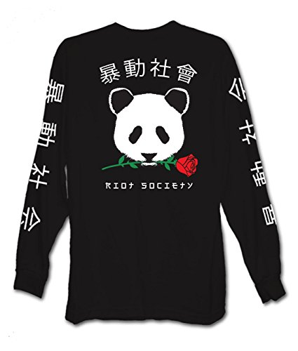 Riot Society Panda Rose Mens Long Sleeve T-Shirt - XL from Riot Society