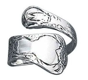STERLING SILVER HIGH POLISH SPOON ROSE RING Sizes - Rose Ring Spoon