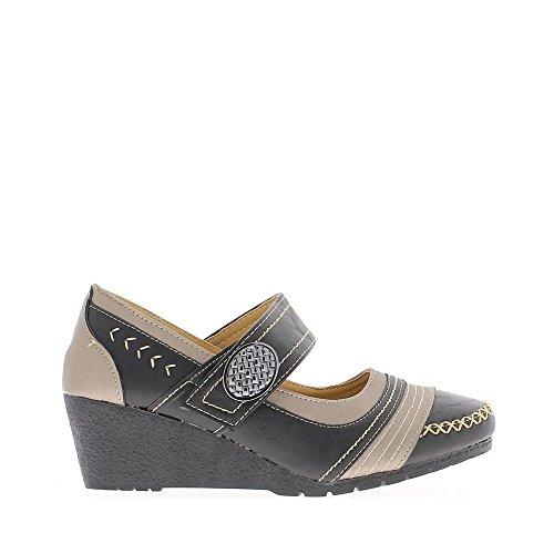 Chaussures femme compensées noires petit talon de 5cm bride bicolores