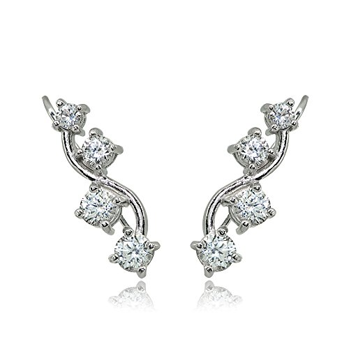 Sterling Silver Created White Sapphire Vine Climber Crawler Earrings for -