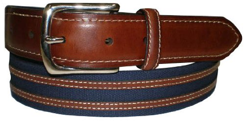 IZOD Navy Canvas & Leather Inlay Belt NAVY (Navy Canvas Belt)