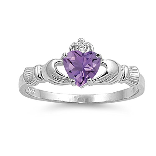 925 Sterling Silver Faceted Natural Genuine Purple Amethyst Claddagh Heart Promise Ring Size 9
