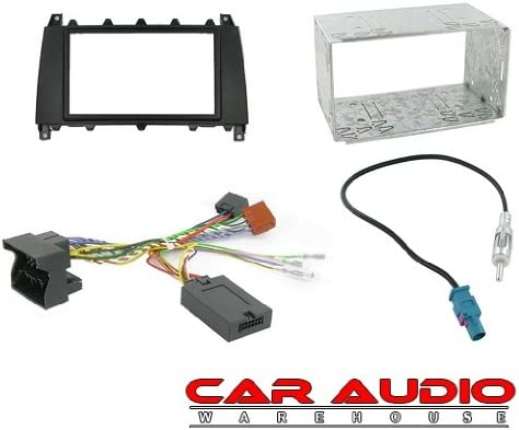 CT27AA17 CTSMC001 Black Double Din Facia Panel CT23MB03 T1-Audio T1-CTKMB01 Mercedes C Class W203 2004-2007 Complete Car Stereo Double Din Facia Fitting Kit Steering Stalk Lead and Aerial Adapter.