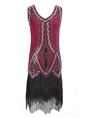 celeblink 1920s Vintage Flapper Dress Sequin Fringe Beaded Great Gatsby Cocktail Dress