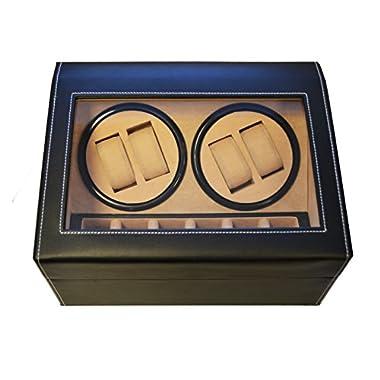 Geff House Automatic Watch Winder & Organizer Display Case (Black)