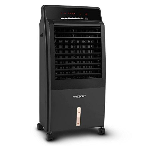 oneConcept CTR-1 4in1 Mobile Klimaanlage mobile Luftkühler-Klimagerät mit Fernbedienung (extrem niedriger Energieverbrauch, 65W, Ionisator, Luftbefeuchter, Luftreiniger, 3 Leistungsstufen) schwarz