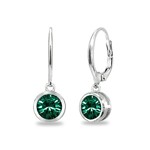 Sterling Silver Green 6mm Round Bezel-Set Dangle Leverback Earrings Made with Swarovski Crystals