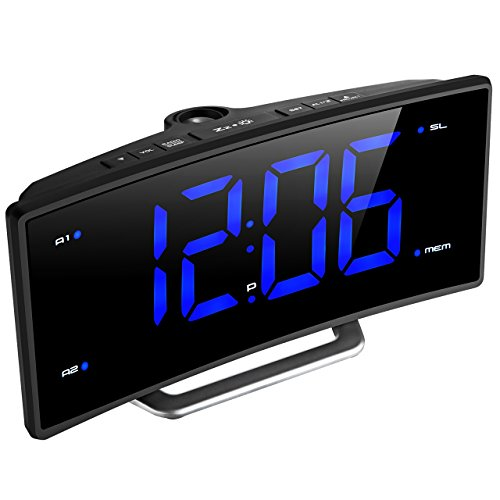 Mpow Projection Clock, FM Radio Alarm Clock, Curved-Screen Digital Alarm Clock, 5.5'' LED Display with Dimmer, Dual Alarm with USB Charging Port, 12/24 Hours, Backup Battery in Case of Power Failure