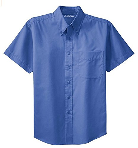 Clothe Co. Men's Short Sleeve Wrinkle Resistant Easy Care Button Up Shirt, Ultramarine Blue, S