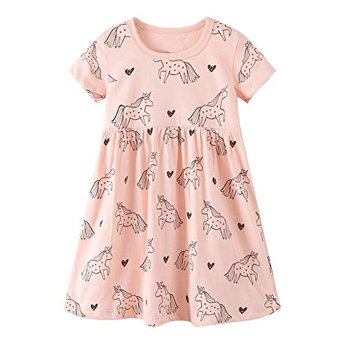Baby Girls' Organic Cotton Dress Pink Unicorn Cartoon Short Sleeve Skirt Tunic Shirt -